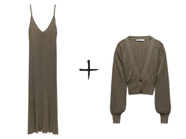 Combinar cárdigan con vestido de punto es tendencia doble y estos conjuntos de Zara, Massimo Dutti y compañía, póquer de REINAS